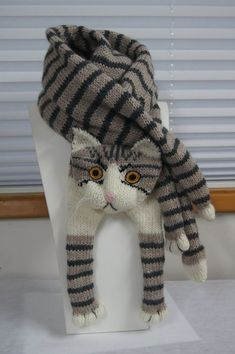 Tabby Gray Cat Scarf Knitting Scarf Gray Scarf Cowl Scarf Long Scarf knit, winter scarf, Christmas Gift, Multicolor Scarf Tabby Gray Cat Scarf Knitting Scarf Gray Scarf Cowl by EastalaceKnitting Patterns Mittens nice soft and warm scarf. Fox Scarf, Hand Knit Scarf, Grey Scarf, Crochet Scarves, Crochet Hats, Cat Crochet, Knitted Cat, Christmas Knitting, Knitted Blankets