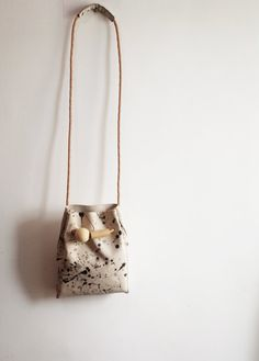 9f112bf64cc SALE Leather cross body bag with wood beads