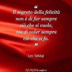 Il segreto della felicità non è di far sempre ciò che si vuole, ma di voler sempre ciò che si fa. (Lev Tolstoj)