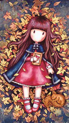 Free Wallpaper Backgrounds, Cute Wallpapers, Autumn Illustration, Cute Illustration, Autumn Leaves Wallpaper, Santoro London, Cute Cartoon Girl, Hello Autumn, Cute Dolls