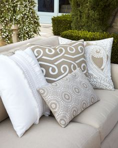 Outdoor Neutral Pillow Collection - Elaine Smith (Pillow Talk? Pillows / throws Fabric Classic Pattern Solid White Tan Embellishments Decor)