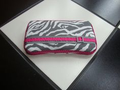 Diaper wipes travel case Zebra print Hot Pink Gray Grey and White on Etsy, $13.00