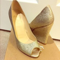 Authentic Christian louboutin shoes Christian louboutin glitter wedge great condition only wore once box and dust bag included Christian Louboutin Shoes Wedges