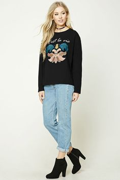 Cest La Vie Embroidered Sweatshirt