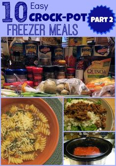 10 Easy Crock-Pot Freezer Meals {Part 2} - 10 simple, delicious and easy recipes for your crock-pot that you can make ahead and freeze. Includes FREE printable grocery shopping list!