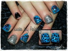 Blue black leopard zebra silver star gel nails