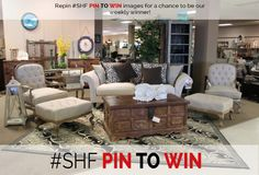 Pin it to win it!! We choose a winer every Monday to get a gift card of $15-25 to Showhome furniture!! Follow us on Facebook or check put our website to see the winners :)