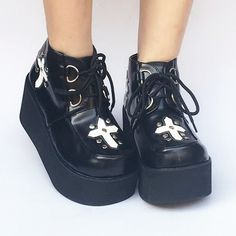 da672ce1455 Custom Made Black Cross Platform Shoes SP168085