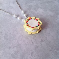 Fancy Cake necklace polymerclay by FlowerChildCharms on Etsy