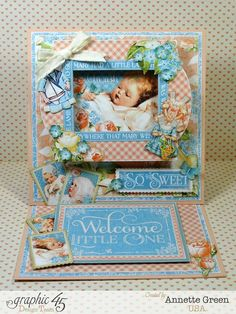 Annette beautifully shows off our new collection Precious Memories with this easel card. Gorgeous! #graphic45 #card