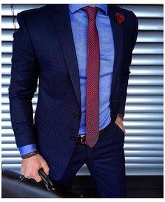 Black Suit Blue Shirt, Dark Blue Suit, Blue Suit Men, Black Suits, Navy Suits, Groom Suits, Groom Attire, Red Shirt, Black Tie