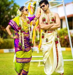 Stunning Lime Green and Purple Nine Yard Madisar Saree Indian Wedding Couple Photography, Wedding Photography Poses, Wedding Poses, Wedding Couples, Wedding Ideas, South Indian Bride, Indian Bridal, South Indian Weddings, Bridal Henna
