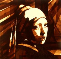 """Dutch street artist Max Zorn recreates Vermeer's """"Girl With a Pearl Earring"""" using packaging tape."""