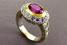 Beautiful Natural Pink Sapphire and Diamond Ring in 18kt Yellow and White Gold with hand engraved scrollwork. Goldart Studio.