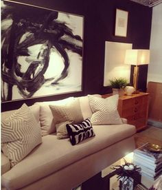 Black Walls Basement Inspiration, Interior Inspiration, Beautiful Interiors, Beautiful Homes, Living Room Decor, Living Spaces, Living Rooms, Pacific Northwest Style, Love Wall Art