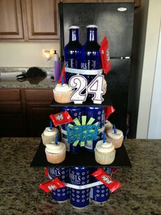 """Made this cake for my boyfriends birthday"" - another pinner. Good idea! I've wanted to make a beer cake but this is much more customized! cute :)"