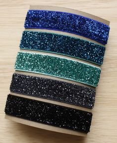 elastic hair ties -- ocean blues glitter palette / etsy - perfect to dress up your hair for the summer!