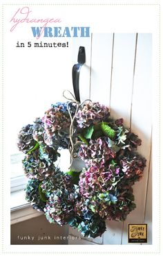 It's that time of year - the Hydrangea are ready to be cut for craft work! Make a fresh hydrangea wreath in 5 minutes - via Funky Junk Interiors Hydrangea Wreath, Floral Wreath, Hydrangea Bush, Book Page Wreath, Funky Junk Interiors, Wreath Tutorial, Diy Wreath, Wreath Ideas, Fall Wreaths