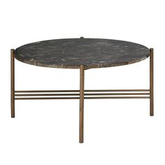 A new twist on deco design. Black marble top is combined with a metal base and bronze finish, for an easy update to any living room. Assembly required. Set Includes: One coffee table Frame Composition