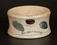 "Sold $200 Scarce Small-Sized Stoneware Spittoon with Cobalt Decoration, Stamped ""COWDEN & WILCOX,"" Harrisburg, PA origin, circa 1865, with footed base..."