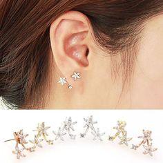Sweet Flower Rhinestone Silver Earrings Studs
