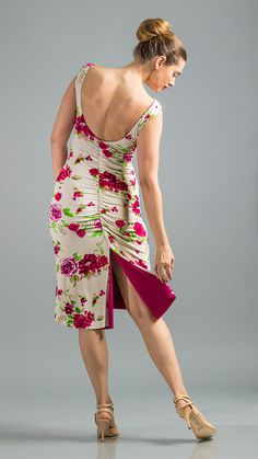 SALE! REG. $139 Tango Dress Floral Combo. Its here! Our Rayon Jersey Stretch Reversible Dress Mimosa straight neck front with low back, tapered body. Fish tail. Ruched back. Slight shirring around neckline for absolute grip. Slim fit with back slit. Wear it both ways, show off contrast