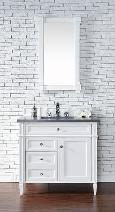 James Martin Brittany (single) 36-Inch Transitional Bathroom Vanity - Cottage White