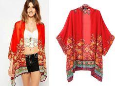 Blusas Femininas mulheres mulheres flor Vintage imprimir Chiffon blusa Loose Women Chiffon Kimono Cardigan alishoppbrasil