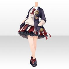 Dress Drawing, Drawing Clothes, Anime Outfits, Cool Outfits, Character Inspiration, Character Design, Anime Uniform, Clothing Sketches, Anime Dress