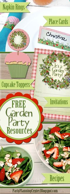 FREE printables and recipes for a fun garden party