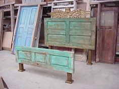Possibly do in a blue to go with the bedspread  Recycle Doors into Headboards by adding two end post. <3