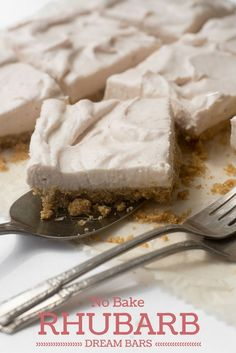 No Bake Rhubarb Dream Bars live up to their name...a light and fluffy bar with a touch of tangy rhubarb flavor