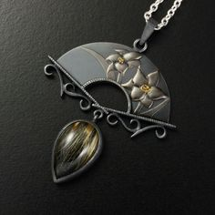 Spring flower Keum Boo silver pendant with a rutilated by KAZNESQ