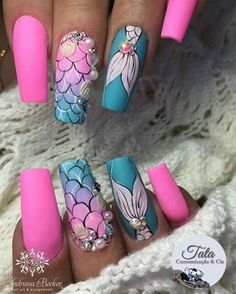 Cute Nail Art, Nail Art Diy, Cute Nails, Girls Nail Designs, Diy Nail Designs, Mermaid Nail Art, Drip Nails, Cute Summer Nails, Vacation Nails