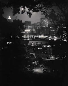 Pittsburgh (City at Night, Trees in Foreground)  Read more about Eugene Smith Photography by www.leegallery.com