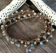 Items similar to SALE Wrap Bohemian wrap crochet jewelry Boho chic bracelet or long necklace earthy earth tone neutral color on Etsy Gypsy Jewelry, Beaded Jewelry, Vintage Jewelry, Handmade Jewelry, Beaded Bracelets, Crochet Bracelet, Bead Crochet, Diy Jewelry Inspiration, Bohemian Bracelets