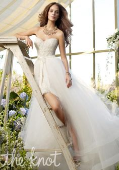 Gown features lace, moire ribbon at waist, horsehair trim and detachable overskirt.