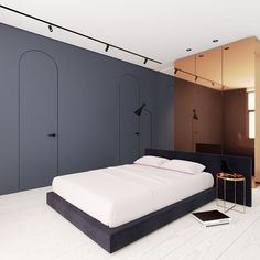 Beautiful, minimal bedroom with muted colors and limited decor. FontanB in Kiev…