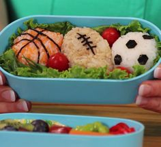 Turn rice and veggies into delicious edible vegan sports gear. #back2school #kids #sports
