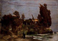 Villa en bord de mer (deuxième version), Oil by Arnold Bocklin (1827