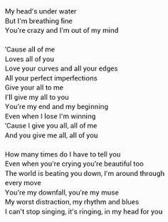 John Legend All Of Me Paroles : legend, paroles, Meaningful, Lyrics