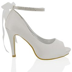 Essex Glam Womens Platfrom Heel Bridal White Satin Shoes 6 BM US * Learn more by visiting the image link.(This is an Amazon affiliate link and I receive a commission for the sales) #WomensPlatformsandWedgesSandals