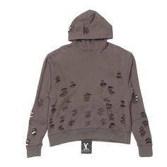 Distressed Essential Pullover Hoodie (510 BRL) ❤ liked on Polyvore featuring tops, hoodies, brown tops, hoodie pullover, sweatshirt hoodies, cotton hooded sweatshirt と oversized hoodie