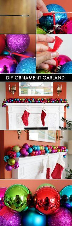 DIY Ornament Garland christmas diy ideas ornaments christmas crafts christmas decorations christmas crafts for kids home decorating chistmas diy