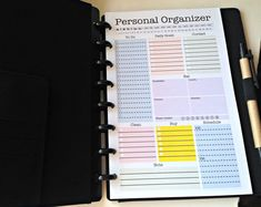 Mini Personal Organizer Printable - Half Letter Size (8.5 x 5.5 inches) - Pictured in a junior size, 'M' by Staples Arc customizable notebook!