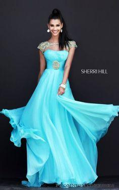 Aqua Sherri Hill 11193 Sleeved Evening Gown - Click Image to Close Aqua Prom Dress, Homecoming Dresses Long, Sherri Hill Prom Dresses, Cute Prom Dresses, Prom Dresses 2016, Designer Prom Dresses, Long Prom Gowns, Bridesmaid Dresses, Prom Long