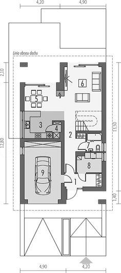 Projekt domu Riko G1 energo 130,96 m2 - koszt budowy - EXTRADOM Home Fashion, House Plans, Floor Plans, Houses, Exterior, House Design, How To Plan, House Styles, Two Story Deck