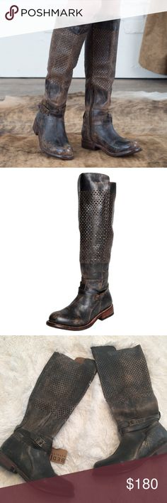 NWT Bed Stu Perforated Distressed Boots So amazing and perfect for a casual weekend look! Brand new with tags. Very distressed throughout. Brown-grey color. No trades!! 011117200gwb Bed Stu Shoes Heeled Boots