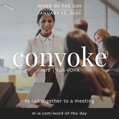 Word of the Day: Convoke English Idioms, English Phrases, Learn English Words, English Literature, Beautiful Words In English, Interesting English Words, English Learning Spoken, English Language Learning, New Words With Meaning