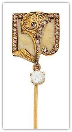 Lluís Masriera, Diamond, enamel and gold stickpin. Bijoux Art Nouveau, Art Nouveau Ring, Art Nouveau Jewelry, Jewelry Art, Fine Jewelry, Jewelry Design, Gold Jewelry, Jewellery, Victorian Jewelry